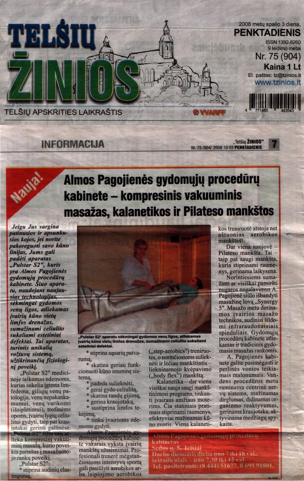 """2008.10.03 """"Telšių žinios"""""""