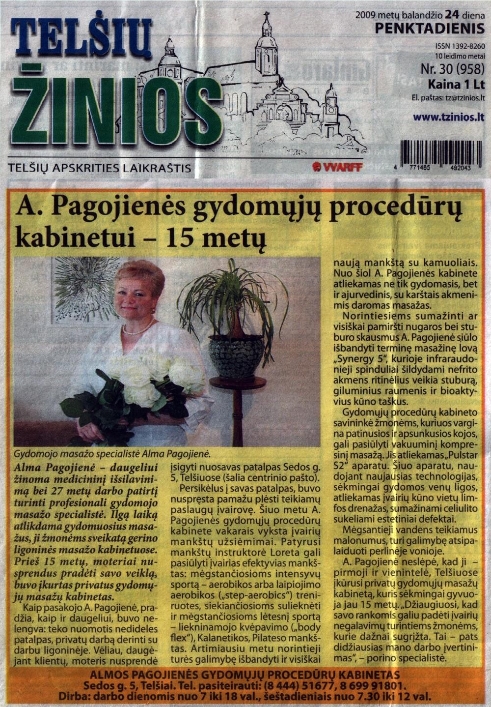 """2009.04.24 """"Telšių žinios"""""""